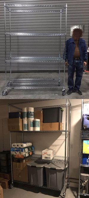 New in box 7.5 feet tall 24x60x90 inches tall 1000 lbs capacity heavy duty pantry garage storage shelf organizer rack with heavy duty locking wheels for Sale in Whittier, CA