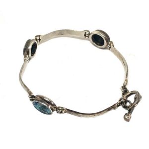 Vintage Artisan Solid 925/Fused Dichronic Glass Hinged Links Bracelet for Sale in Ossining, NY