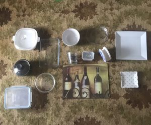 Send offer: All kitchen set/ dining set- glass bowl, plates, cutting board, tissue holder for Sale in Miami, FL
