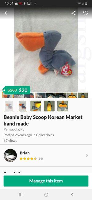 Beanie Baby Scoop Korean Market hand made for Sale in Pensacola, FL
