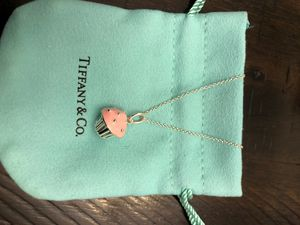 Tiffany Pink Enamel Cupcake Necklace in Sterling Silver for Sale in North Bergen, NJ