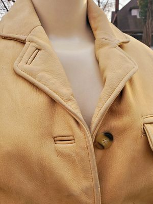 Womans Genuine Leather Camel Car Coat Ladys Blonde Bohemian Jacket Studio Sz Small for Sale in Cincinnati, OH