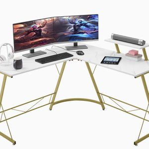 "L-Shaped Desk 50.8"" Computer Corner Desk, Home Gaming Desk, Office Writing Workstation with Large Monitor Stand, Space-Saving, Easy to Assemble(Lamina for Sale in Tolleson, AZ"