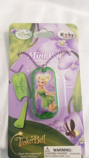 New! Disney Tinkerbell Dog Tag Necklace Pen for Sale in Palm Bay, FL