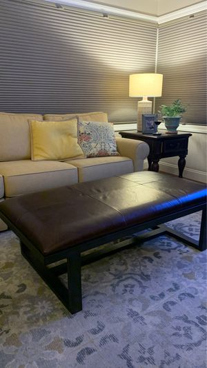 Pottery Barn Brown Leather Ottoman for Sale in Pleasanton, CA