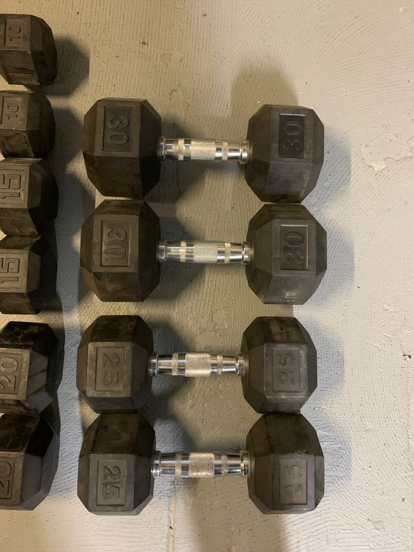 Dumbbells WEIGHTS for sale -30, 25,20,15,10 sets of each