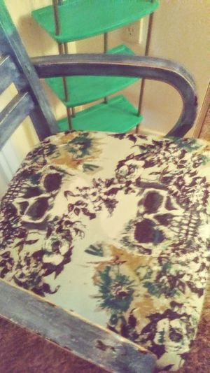 HANDPAINTED ACCENT CHAIR WITH MATCHING CORNER SHELF for Sale in Albuquerque, NM