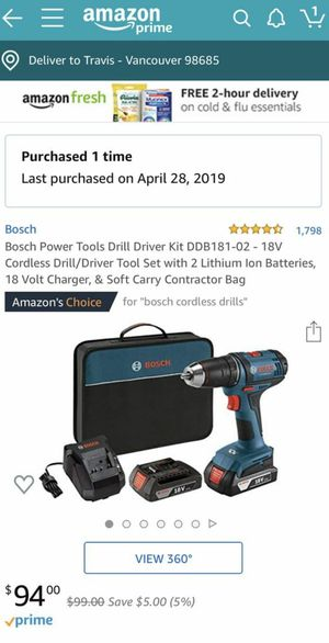 Bosch cordless 18v Drill with one battery no case for Sale in Mountain View, CA