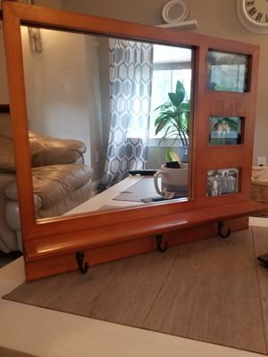 Farmhouse mirror with picture frame and 3 coat hooks for Sale in Bensalem, PA