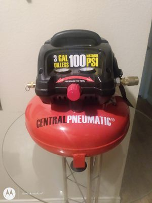 CENTRAL PNEUMATIC 3GAL OILLESS 100 MAXIMUM PSI for Sale in DW GDNS, TX