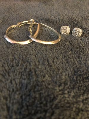 Authentic Serling Silver Hoops and Diamond earrings for Sale in Dover, FL