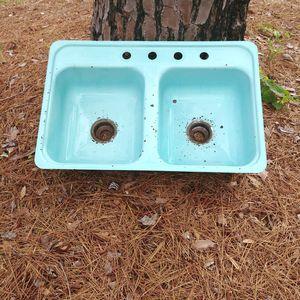 Vintage enamel sink aqua for Sale in Prattville, AL