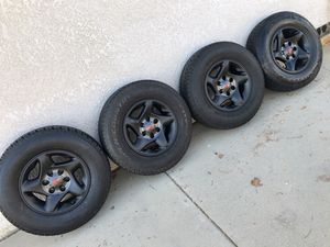 "4 stock Toyota 17"" wheels 6 lug OEM rims with Dueler H/T tires 255/70R17 balance at 20% tread $275 in Ontario 91762 Tacoma 4runner Fits all six lug T for Sale in Newport Beach, CA"
