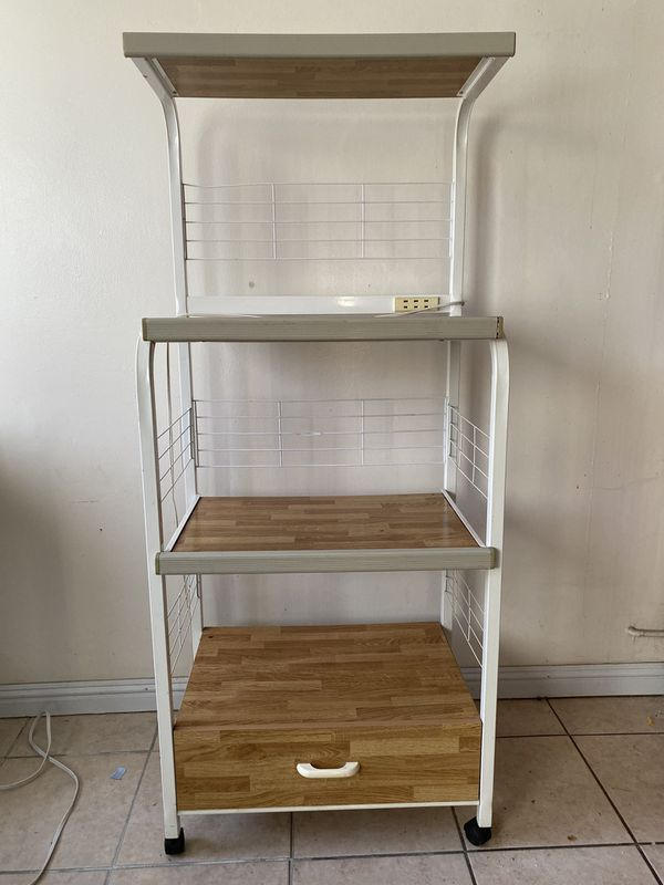 Kitchen Shelving Unit on Wheels with Outlet