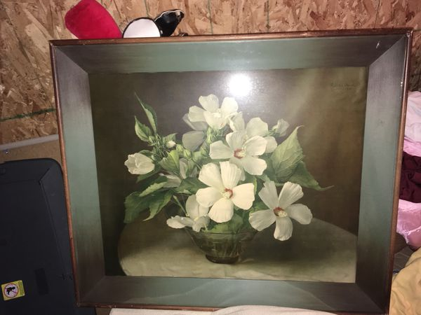 """Signed Vintage Lithograph Print """"White Mallows"""" by F. Julia Bach 1945 Shadow Box Frame"""