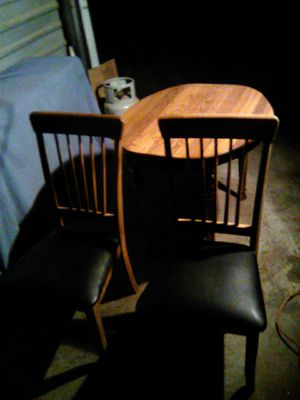 Two chairs & table solid 5 quarter solid oak for Sale in Wichita, KS