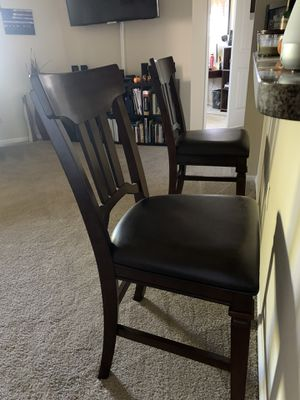 (2) All Maple brown and espresso leather bar stools for Sale in Bradenton, FL