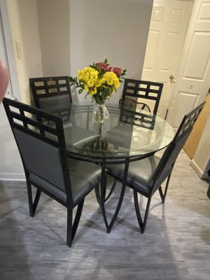 Dining Table Set with Leather Chairs for Sale in Washington, DC