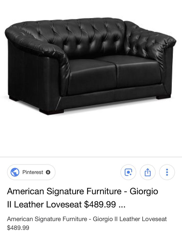 Amazing American Signature Giorgio Ll Leather Couch Loveseat For Short Links Chair Design For Home Short Linksinfo
