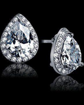 SILVER DIAMOND WATERDROP EARRINGS for Sale in San Bernardino, CA
