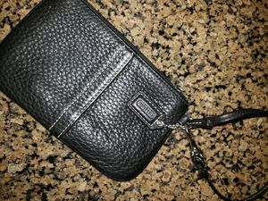 Coach Pebble Leather Wristlet- Black for Sale in Seattle, WA