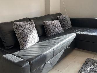 FRIHETEN Sleeper sectional,3 seat w/storage, Bomstad black for Sale in Hialeah,  FL