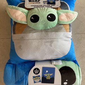 Disney Baby Yoda Grogu Star Wars Mandalorian Pillow Throw Blanket Set for Sale in Beverly Hills, CA