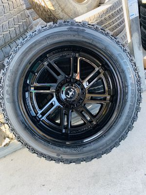 20x12 All black deep concave rims and mud tire 33125020 6 lug Chevy gmc ford Toyota dodge Nissan for Sale in Modesto, CA