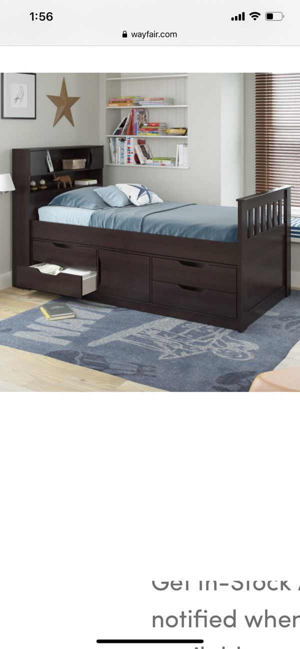 twin bed frame with storage and shelves