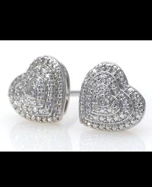 Brand New Genuine Diamond Accent Heart Earrings. for Sale in Mesa, AZ