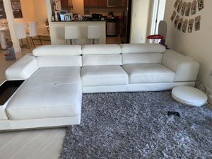 Modern white real leather sofa couch sectional for Sale in Aventura, FL
