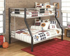 Dinsmore Twin/Full Bunk Bed in Black/Gray for Sale in Austin, TX