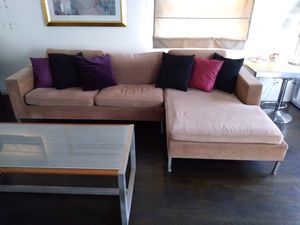 Modern Designer Pink Velour L Couch for Sale in Brooklyn, NY