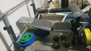 Bench Press, Olympic bar and weights for Sale in Rosenberg, TX