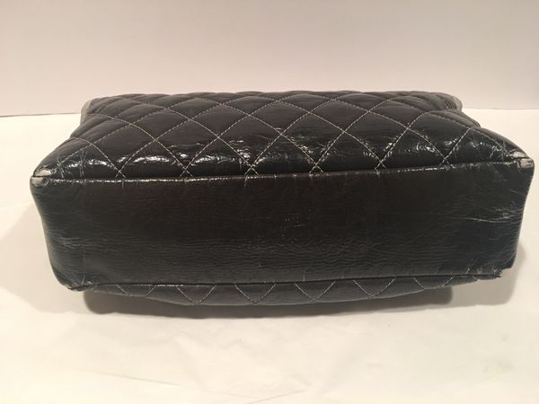 52260f4579111a Preowned CHANEL Grey Black Silver Ombre Melrose Degrade JUMBO Flap ...