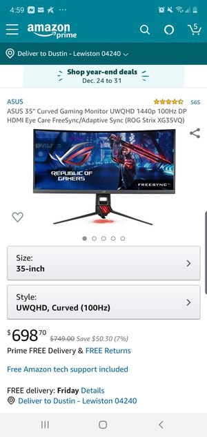 Rog Strix 35inch 100hz curve ultra wide hdr monitor for Sale in Lewiston, ME