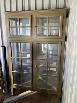 Green County Style Glass and Wood Display Cabinet for Sale in Peoria, AZ