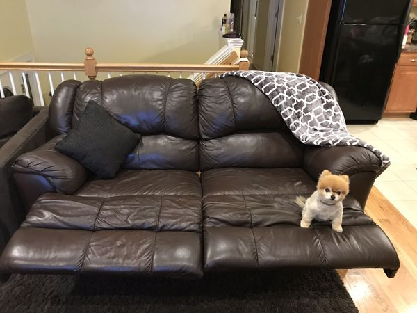Leather couch with double recliners for sale!