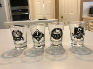 Lot of 4: Shot Glasses - Portuguese- Shame, Judgment, Caution, & Courage - New for Sale in Spring, TX