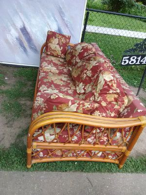 2 Custom made Rattan sleep sofa for restoration with queen size mattress space no mattresses are included for Sale in Washington, DC