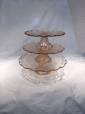 3 Glass Vintage Cake Stands / Tiers for Sale in West Covina, CA