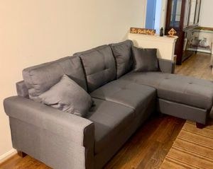 Brand New Charcoal Linen Sectional Sofa Couch for Sale in Silver Spring, MD