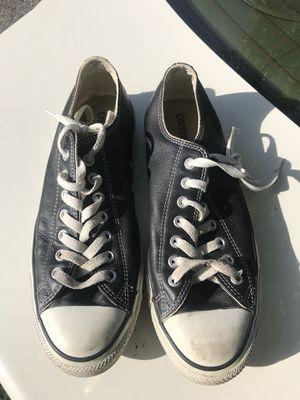 Black Leather Converse Chuck Taylor size 9.5 for Sale in Miami, FL