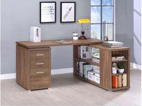 L-SHAPE OFFICE DESK ELM