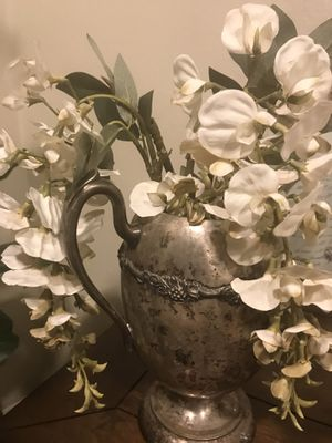 Silver vase with flowers for Sale in San Bernardino, CA