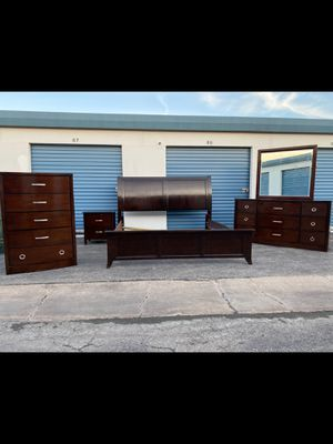 King bed frame with dresser mirror nightstand and chest drawer for Sale in Houston, TX