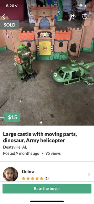Large castle with moving parts, dinosaur, Army helicopter for Sale in Deatsville, AL