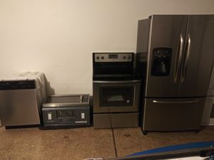 Stainless steel kitchen appliances French door refrigerator stove microwave and dishwasher new condition for Sale in Phoenix, AZ
