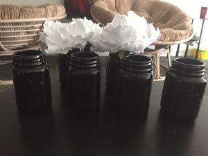 6 Hudson Black Ceramic Mason Jars w/ 2 Faux White Flowers wedding decor accents craft crafts for Sale in Pittsburgh, PA