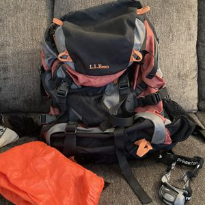 LL Bean, Backpacking Backpack, Waterproof , Rust Gray Black, With Accessories for Sale in Lindenwold, NJ